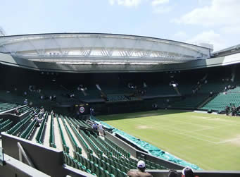 Centre Court with the roof open at Wimbledon
